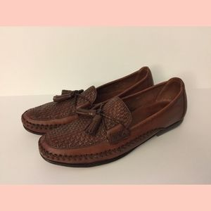 Leather Woven Country Loafers Tassels AA Narrow